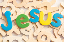Jesus in wood letters
