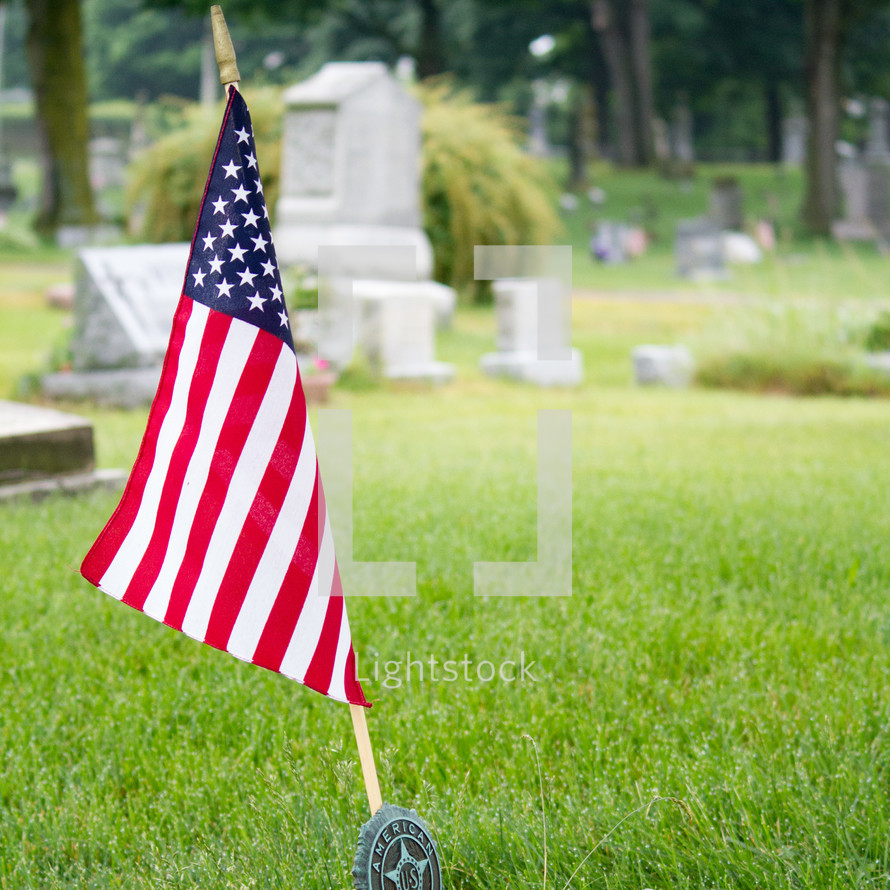American flag in a cemetery