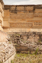 Ornate walls of an ancient ruin.