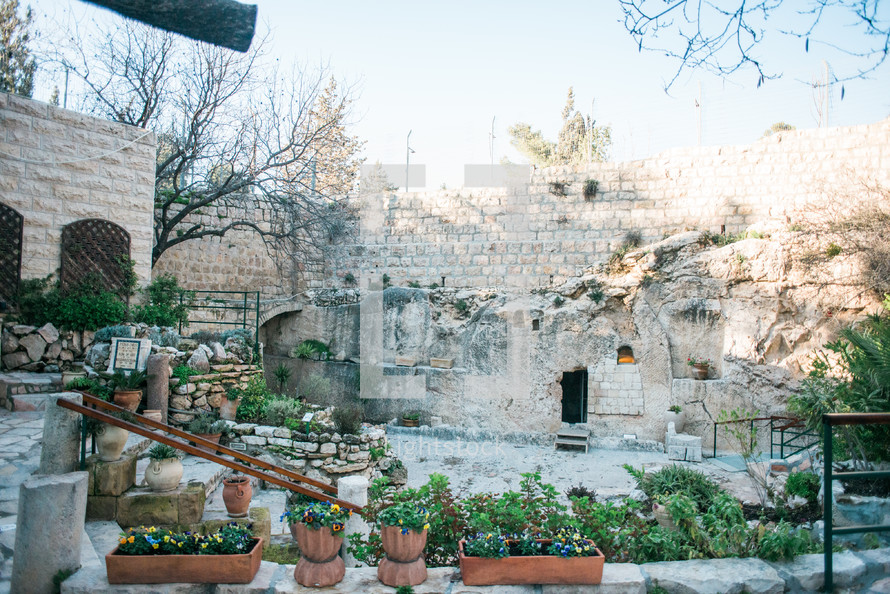tomb and garden in the Holy Land