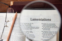 magnifying glass over Lamentations