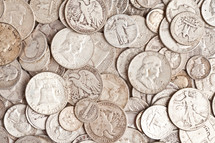 pile of old silver coins