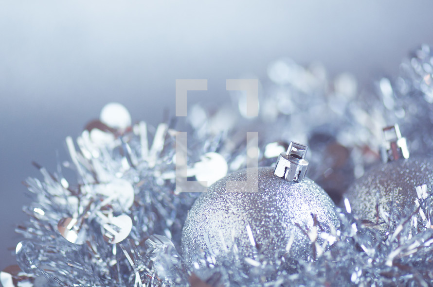 Closeup of silver Christmas decorations