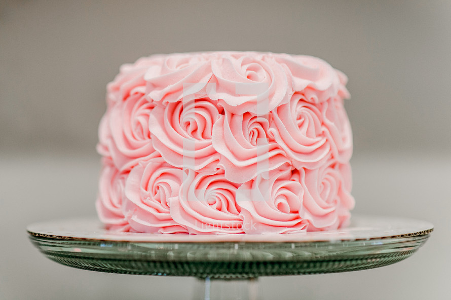 pink icing on a cake