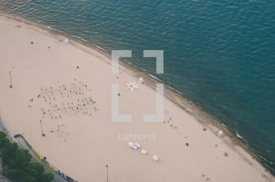 aerial view above a beach
