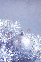Closeup of purple silver Christmas decorations