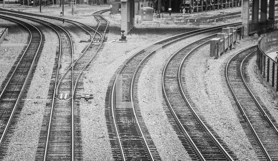 Train Tracks going in different directions. Choices, God's Will, Direction.