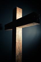 spotlight shining on a cross