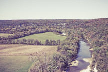 Ozark mountain valley and river