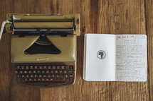 typewriter and journal