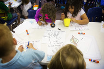 kids drawing hands and messages
