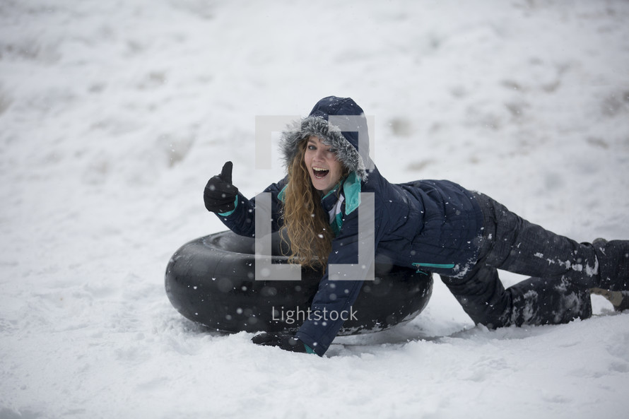 tubing in the snow