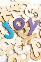 joy in painted wood letters
