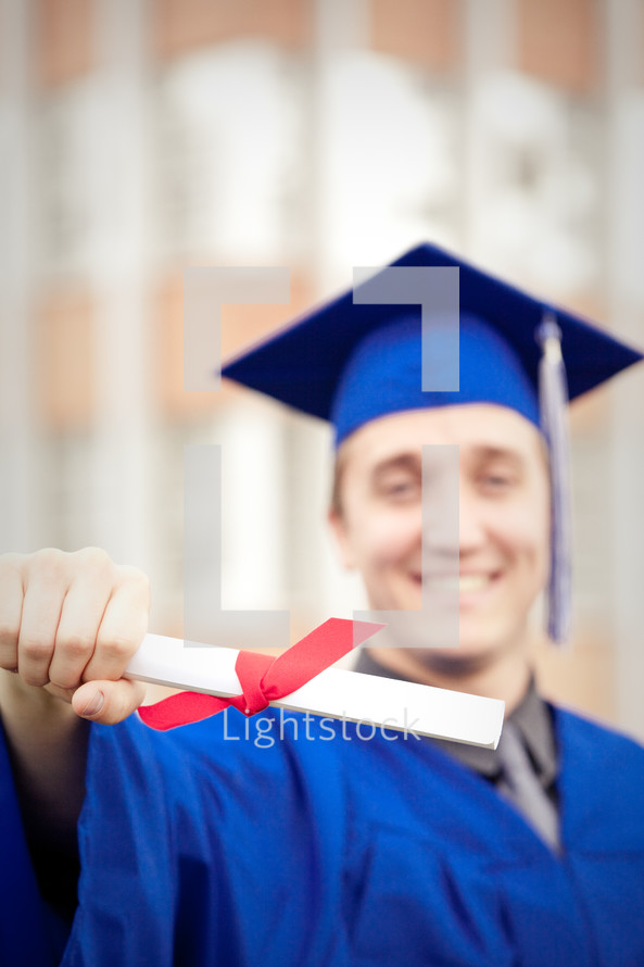 Graduate with diploma.