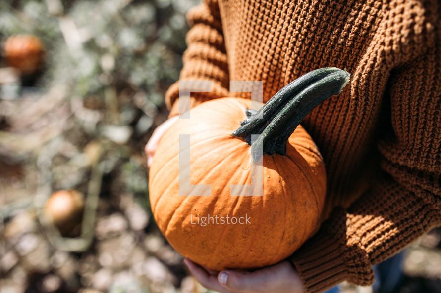 child holding an orange pumpkin