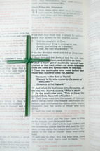 Flax cross on Bible open to Matthew 21 -- Jesus rides into Jerusalem.