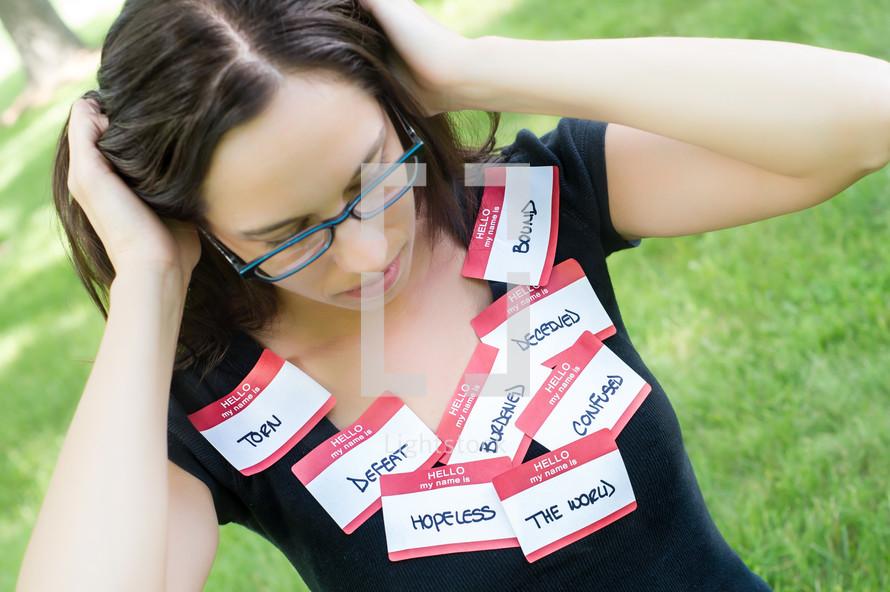women wearing name tags