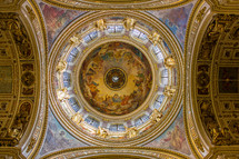 ornate paintings on the dome and celling in a cathedral