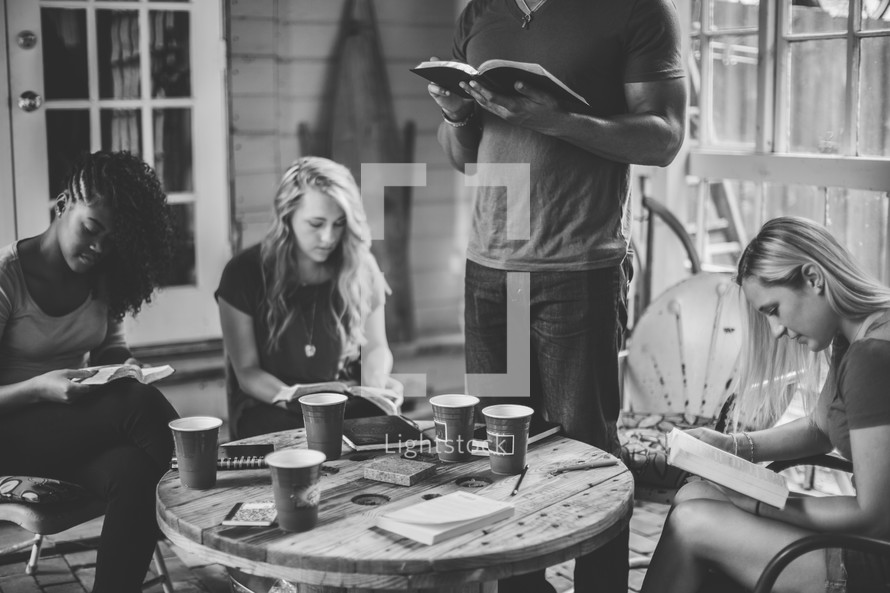 reading Bibles in a small group Bible study