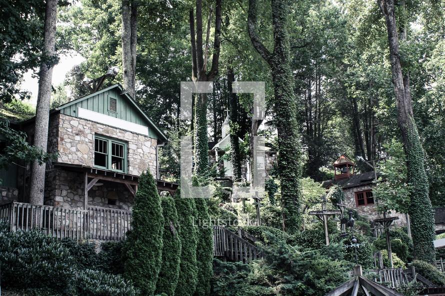 houses nestled on a hillside