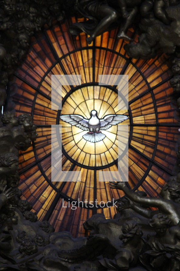 Dove of the Holy Spirit in stained glass