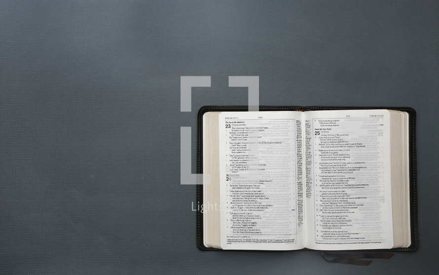 open Bible on gray background