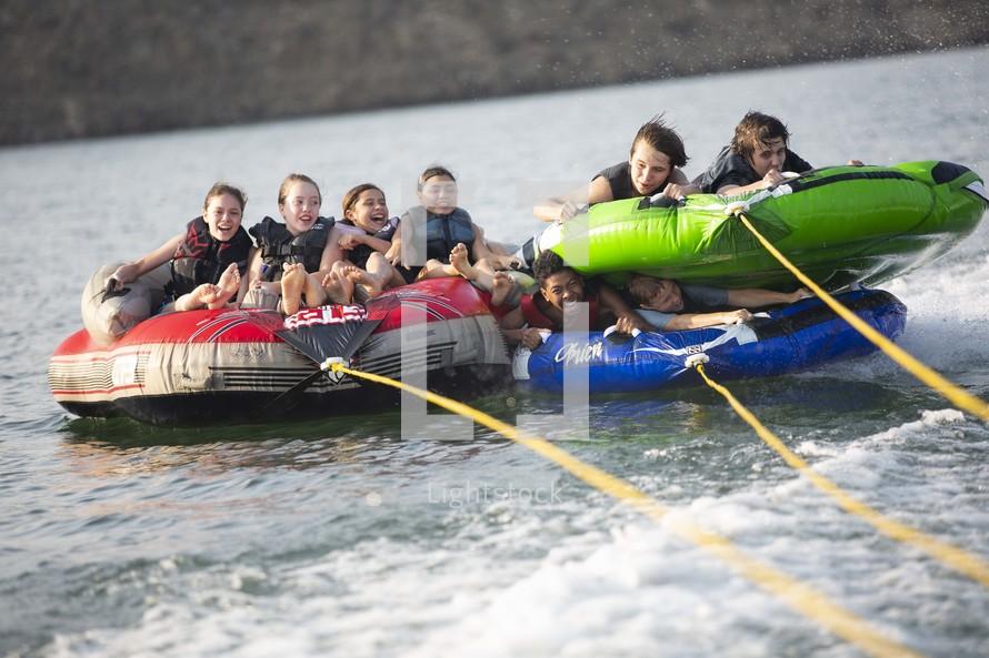 tubing on a lake
