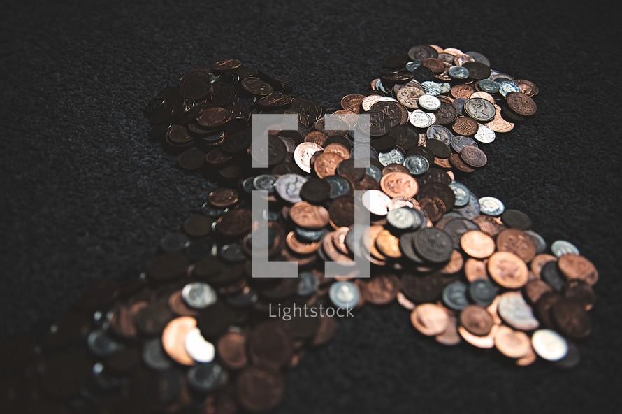 cross shape of coins