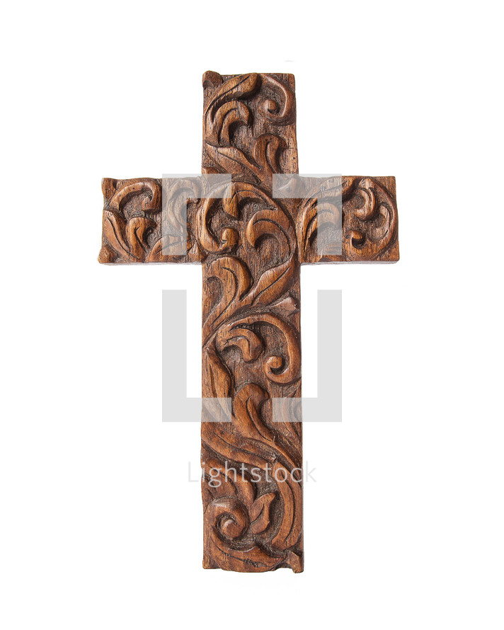 Carved wood cross.