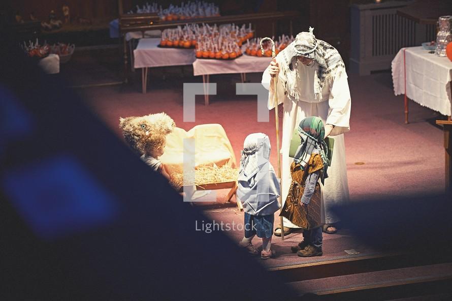 Christmas Pageant, Christmas, teen, Joseph, boy, costume, worship service, live nativity scene, children