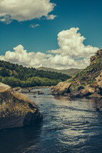 water, flowing, river, rocks, outdoors, nature, trees, clouds, sky