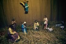 Nativity scene in straw.