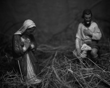 Nativity scene figurines in straw