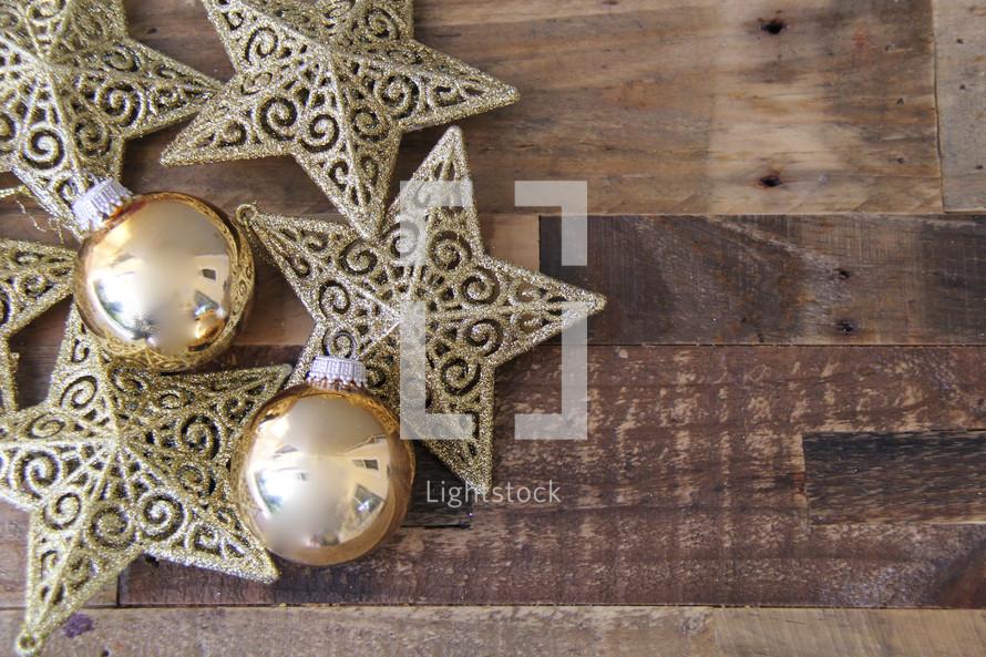 Christmas ornaments on a wood floor