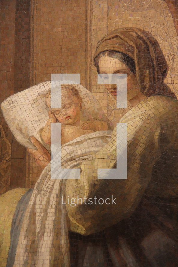 Mosaic of Mary with baby Jesus in Saint Isaac's Cathedral, St Petersburg, Russia