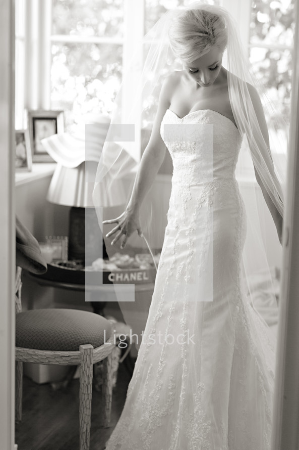 Bride wearing gown and veil preparing for marriage wedding  elegant
