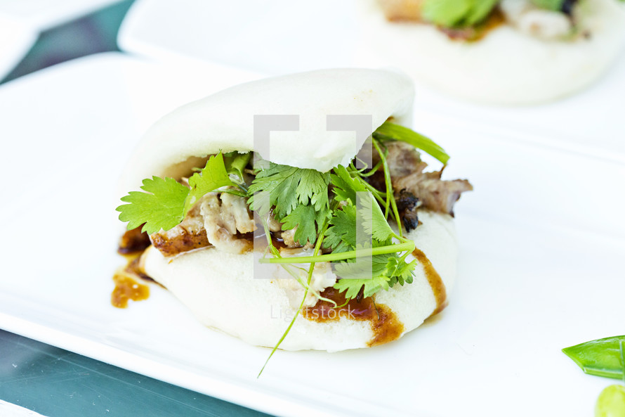 Pork belly  and cilantro present on white plate food.