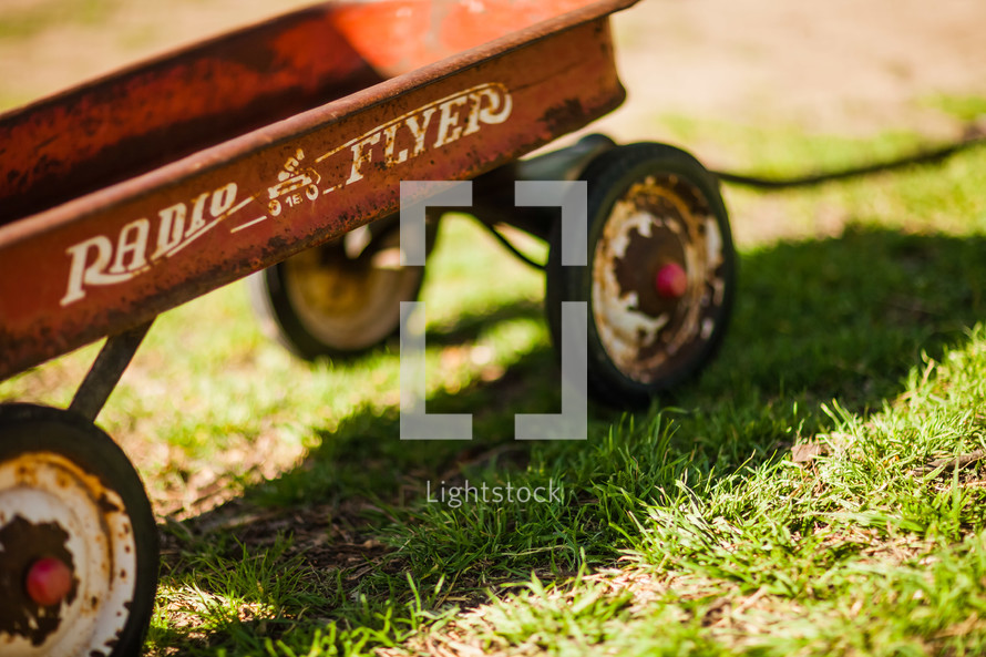 vintage rusted  radio flyer wagon
