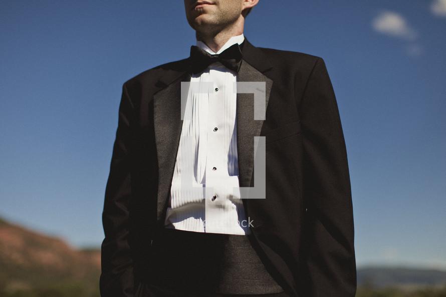 Close up of man in tuxedo