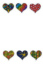colorful hand painted hearts border