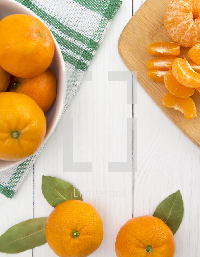 Fresh Mandarin Oranges on a White Background