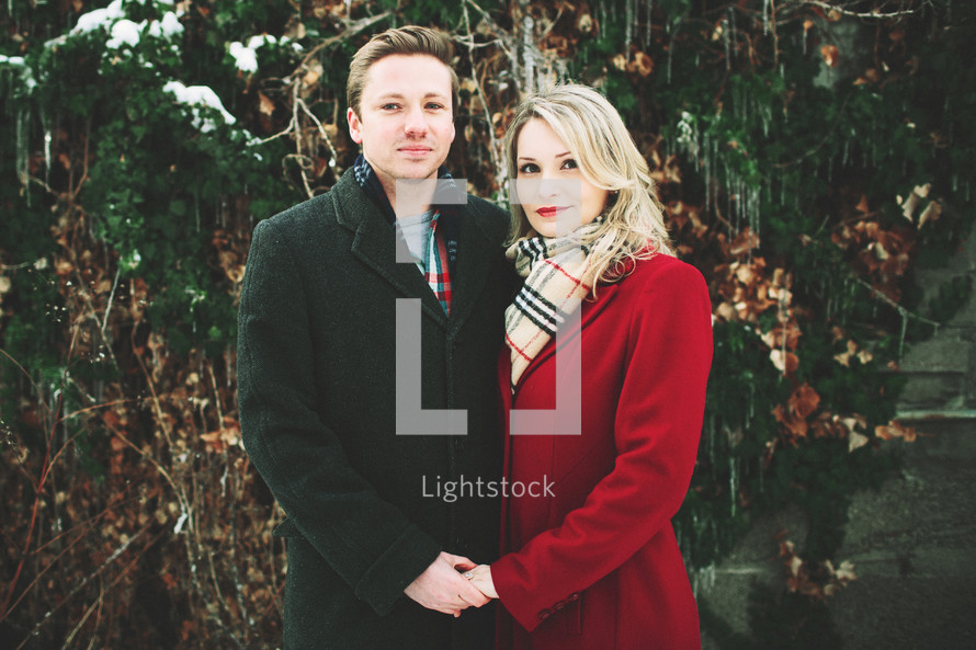 portrait of a couple in winter