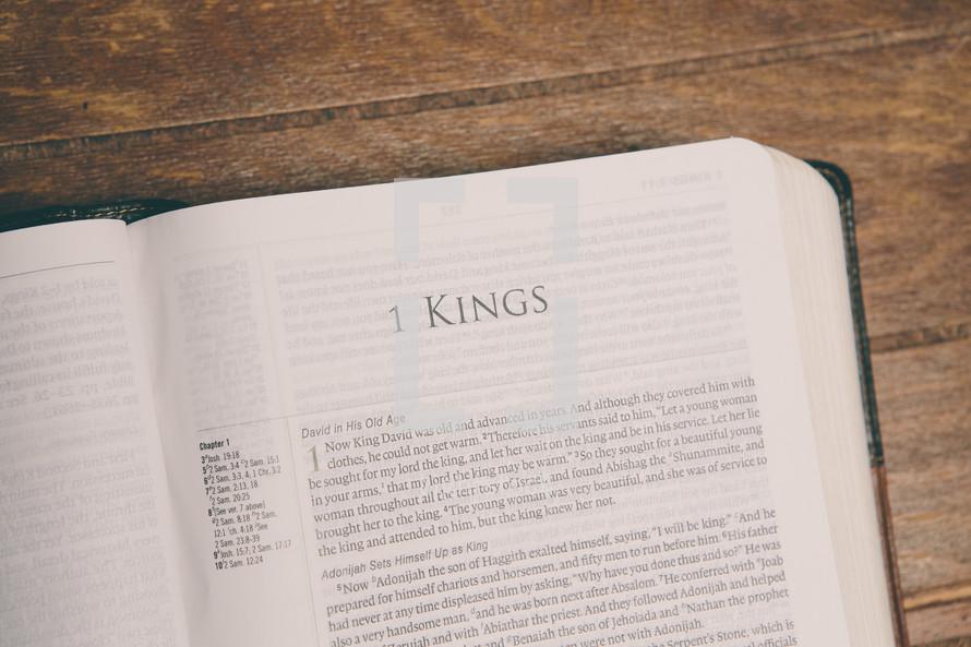 Bible opened to 1 Kings