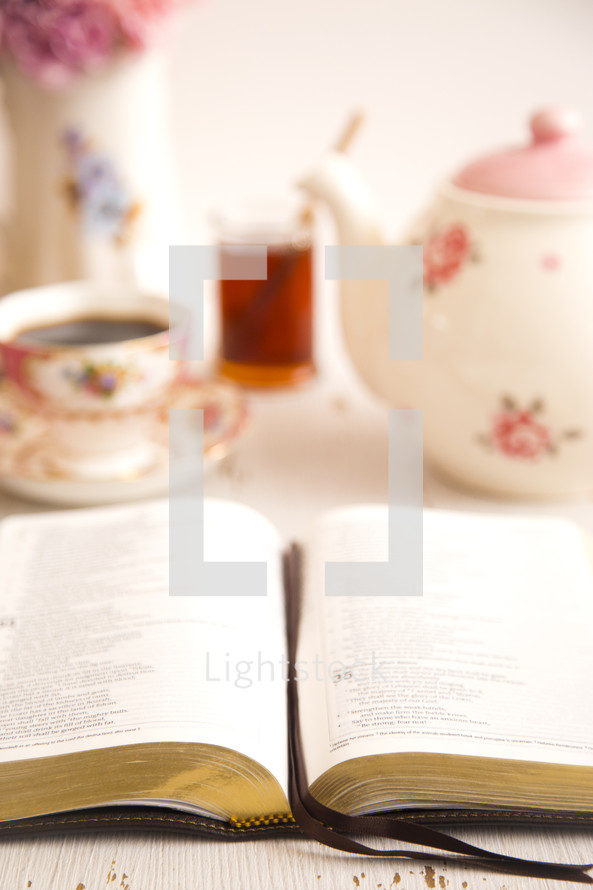 open Bible and tea