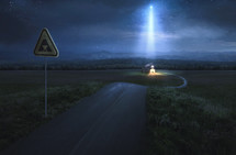 star of Bethlehem lighting the way to a stable and road sign