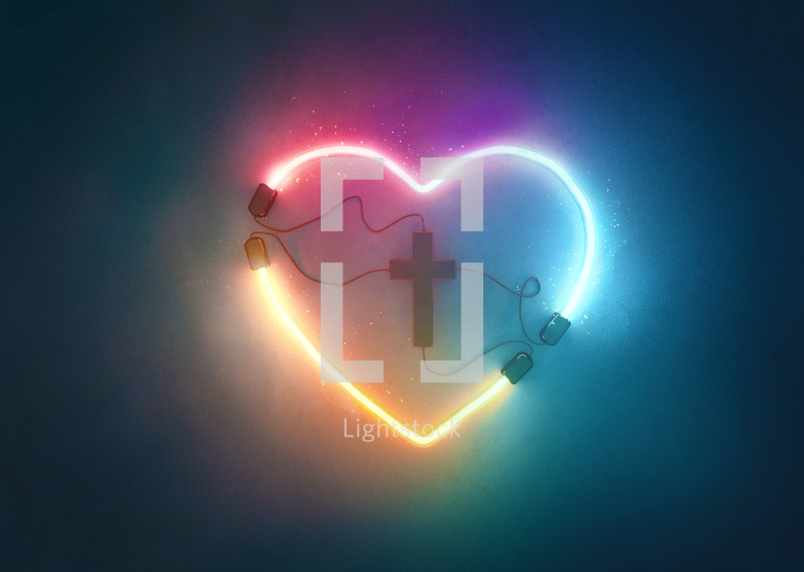 A glowing neon heart shape that is plugged into a cross.