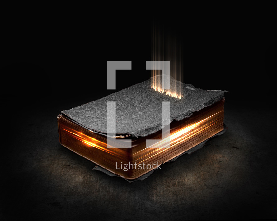 Holy Bible cover with glowing letters