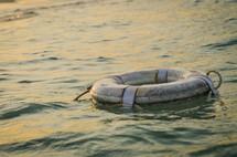 life preserver on the ocean