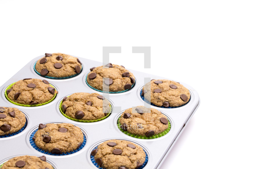 chocolate chip muffins in a baking tin