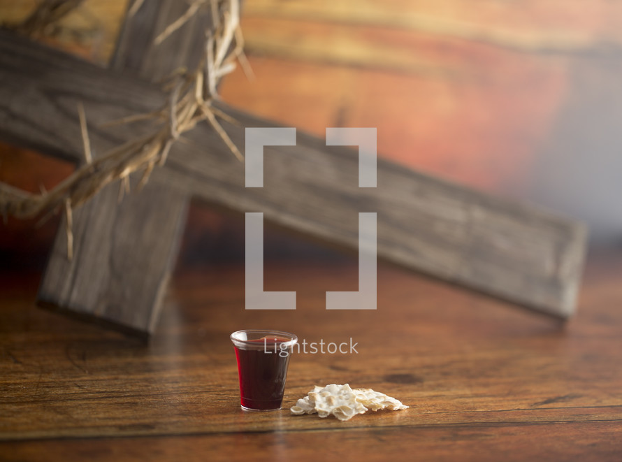 Christian Communion on a Wooden Table